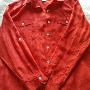 Womens Red Coldwater Creek Silk Blouse